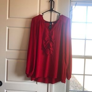 Red Ruffled Front Blouse